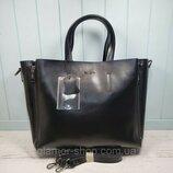 Женская кожаная сумка Galanty чёрная большая жіноча шкіряна сумка чорна велика большая