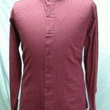 Рубашка мужская PLENTI лен, бордовая стойка 3,4,5XL