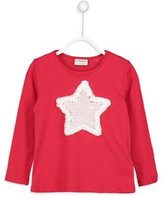Реглан для девочки красный lc waikiki / лс вайкики с белой звездой из паеток и розочек