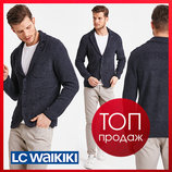 Мужской пиджак lc waikiki синий с кленовым листом на воротнике
