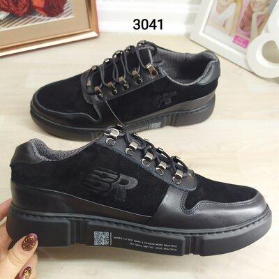 Мужские кроссовки кожаные замша черные, BRONI. Фабричное пр-во, Украина.