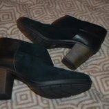 Демисезонные женские ботинки Clarks soft 25 см 38 размер кожа