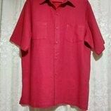 Льняная красная летняя рубашка