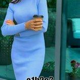 Разные цвета Вязаное платье-гольф в рубчик теплое