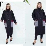 пальто кашемир длина пальто 106 см, длина рукава 60 см в цвете черный/серый - размеры 3 54-58