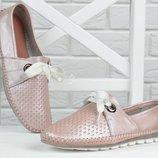 Мокасины женские кожаные Турция прошитые нежно розовые Pink pearl