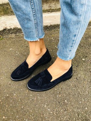 Туфли, натуральная замша, с кисточками, синие