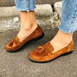 Туфли, натуральная замша, с кисточками, рыжие