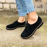 Туфли на шнуровке, натуральная замша, черные
