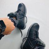 Ботинки мужские, натуральная кожа, зимние, черные