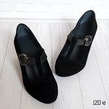 Туфли замшевые женские на небольшом каблуке 1253 чз