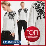 Женский свитер серый lc waikiki / лс вайкики тонкий с цветочным орнаментом