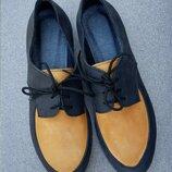 Стильные кожаные туфли мокасины черные желтые натуральная кожа крейзи