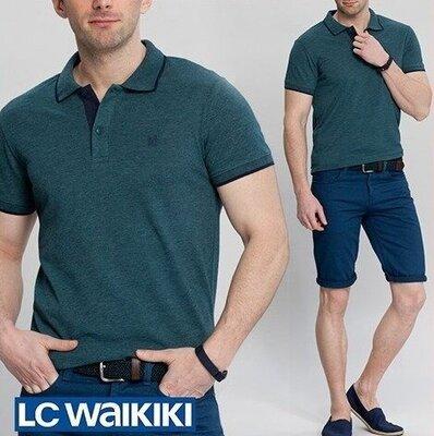 Мужское поло LC Waikiki / Лс Вайкики изумрудного цвета с синей полоской на воротнике и на манжетах