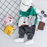 Модный трендовый костюм комплект с вельветовыми штанами