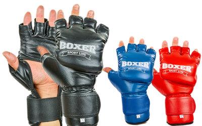 Перчатки гибридные для единоборств кожаные MMA Boxer 2019 размер L 3 цвета