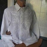 Брендовая белая рубашка Versace с вышивкой и стразами Италия