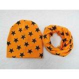 Комплект, оранжевые шапка и хомут со звездами р.48-52