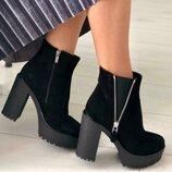 Зимние женские ботинки велюровые на высоком каблуке Вт778158