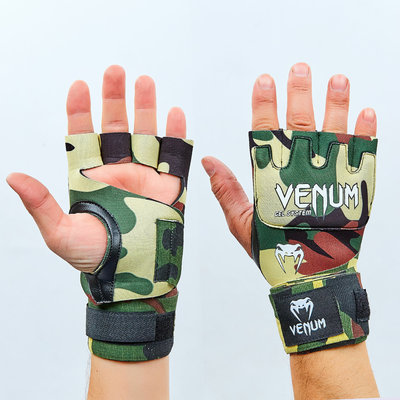 Перчатки с бинтом внутренние гелевые из неопрена Kontack Gel Clove Wraps Forest Camo 0181-500 2,2м