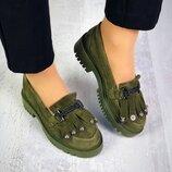 Туфли - лоферы, натуральная замша, с бахромой, хаки