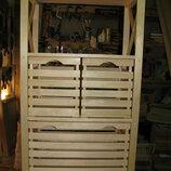 Деревянный стеллаж 4 полки 3 ящика
