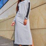 Стильное длинное платье в спортивном стиле 1215