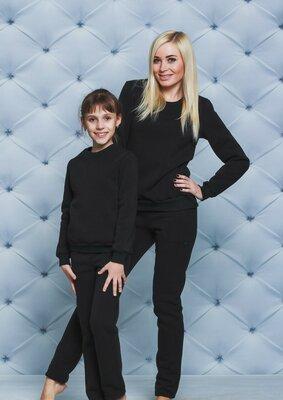 Костюм для девочки утепленный черный vsl-01398-2 детский теплый спортивный костюм