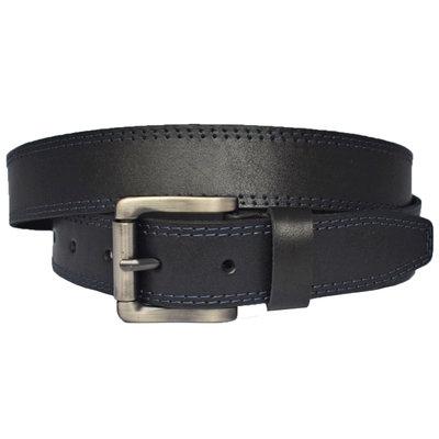 Rober4 кожаный мужской ремень черный пояс кожанный с синей строчкой для джинсов подарок мужчине