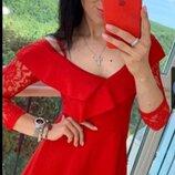 Стильное платье с ажурными рукавамы. 44 Скидка