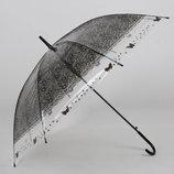 Большой силиконовый прозрачный зонт с принтом кружева