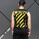 Майка Off White черная с желтым принтом