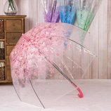Нежный прозрачный зонт Трость с принтом цветов