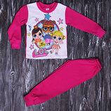 Пижама для девочки с куколкой Лол, пижама кукла лол 98-140 см, хлопок пижама в сад