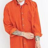 Новая рубашка микровельвет оранжевая 'Jackpot by Carli Gry' 46-48р