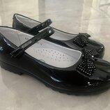 Туфли школьные для девочки чёрные Фламинго