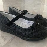 Школьные чёрные туфли для девочки Фламинго