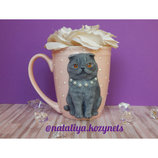 Чашка с шотландской кошкой.Чашка из полимерной глины с скотишфолдом.Кружка с котом.