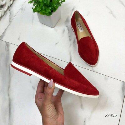 Женские красные натуральные замшевые туфли лоферы на белой подошве мокасины натуральная замша