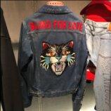 Джинсовая куртка Gucci с вышивкой на спине, стильная джинсовка