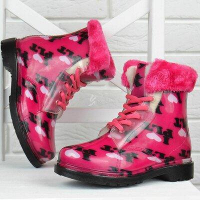 Резиновые сапоги на девочку ботинки на шнуровке на меху I love малиновые