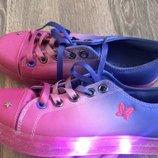 Мокасіни кросівки з підсвіткою , мокасины кроссовки светящиеся next , размер 4/36-37 . Стелька 23,5