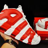 Кроссовки мужские Nike Air More Uptempo 96, белые с красным