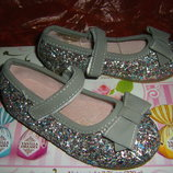 Красивые пудровые, с блестками, разноцветные туфельки для малышек, Англия