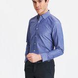 Мужская рубашка синяя lc waikiki / лс вайкики с белыми пуговицами, в мелкую белую точку