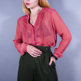 Терракотовая блуза с длинным рукавом, классическая блузка прозрачная, осенняя блузка