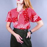 Красная блуза с коротким рукавом, яркая блузка с расклешенными рукавами