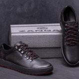 Мужские кожаные кеды ZG 83 чорн/красн
