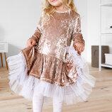 Детское бархатное платье 98-128 см.