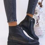 Женские ботинки с замком, натур. кожа